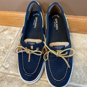 Women's canvas and burlap Sperry's size 9